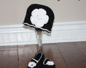Black and White Elegant Beanie and Booties Set - Newborn through 12 Month Sizes