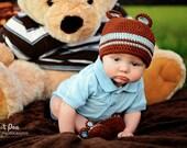 Sweet Little Bear Crochet Beanie and Booties Set - Newborn through 24 Months Sizes Available