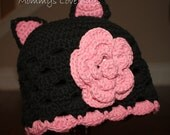 Black Cat Crochet Beanie with Removable Flower Hair Clip - Newborn through 4T Sizes Available