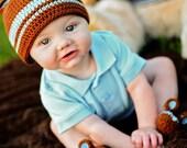 Sweet Little Bear Crochet Beanie and Booties Set - Newborn through 24 Months