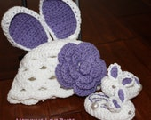 First Easter Bunny Baby Crochet Scallop Beanie with Removable Flower Hair Clip and Matching Booties- Newborn to 12 Month Sizes