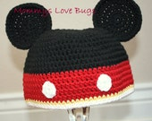 Mickey Mouse inspired Crochet Hat with Ears - Newborn through 4T Sizes