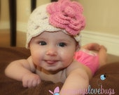 2 in 1 Beautiful Crochet Beanie with Large Removable Clip Flower - Choose your own colors and Size - Newborn through 4T