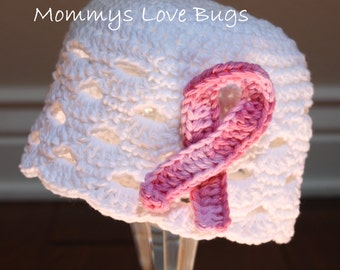 Hope for a Cure Beanie with Removable Breast Cancer Hair Clip - 5T thru Adult Large Sizes