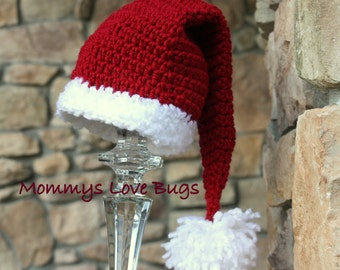 Santa Baby Crochet Christmas Pom Pom Beanie - Newborn through 4T Sizes Available
