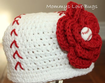 Play Ball Crochet Baseball Beanie with removable Baseball Flower Hair Clip - Newborn through 4T Sizes Available