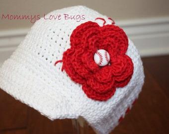Baseball Mom Crochet Brim Hat with Removable Flower Baseball Hair Clip