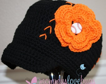 Your Team Baseball Crochet Brim Hat with Removable Flower Baseball Hair Clip - Newborn through 4T Sizing
