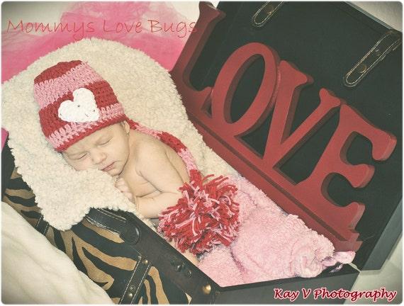 I Love You Valentine Baby Crochet Long Tail Beanie - Newborn through 24 Months