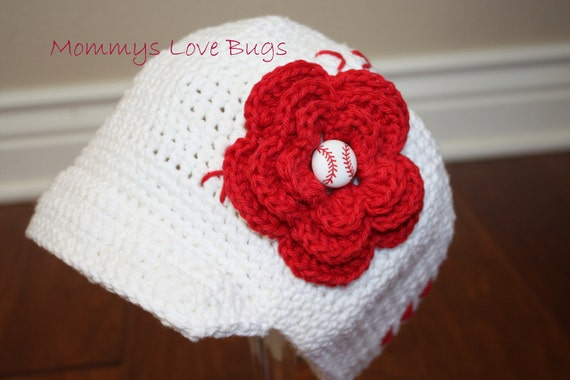 Baseball Mom Crochet Brim Hat with Removable Flower Baseball Hair Clip