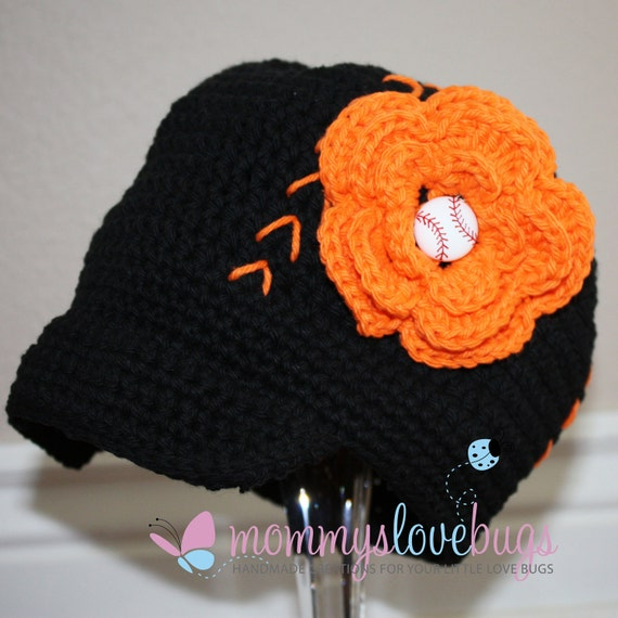 Your Team Baseball Crochet Brim Hat with Removable Flower Baseball Hair Clip -  5 year PreTeen through adult largeSizing
