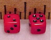 Miniature Red Glass Dice 1/8 Inch Wide