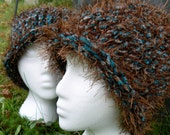 Brown and Teal Fuzzy Knitted Beanies