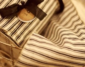 10 yard roll of black and cream ticking stripe wired ribbon