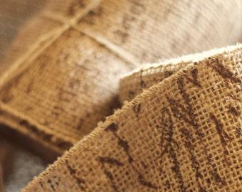 Loose Weave French Script Burlap Ribbon