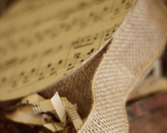 1.5 inch wide Burlap Wired ribbon