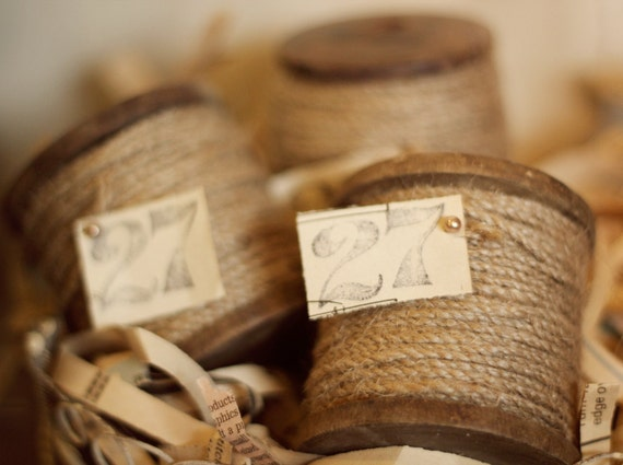 Wooden Spool - 27 yards of thin jute