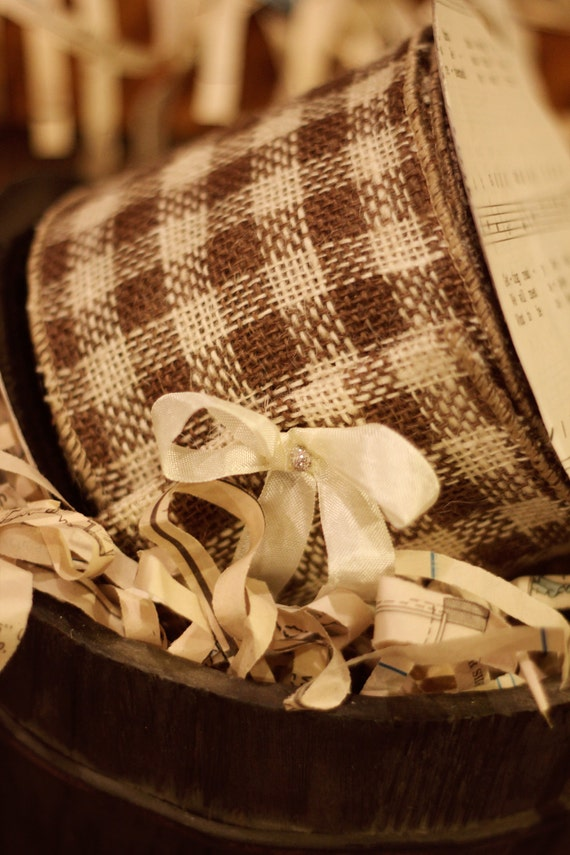 10 yard roll of brown and cream check burlap wired ribbon