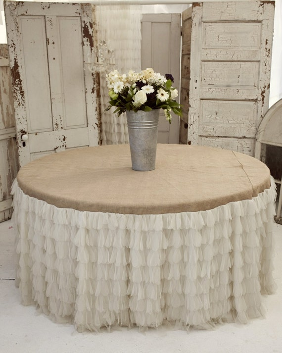 Large Ivory Petals And Burlap Tablecloth By Fleamarketchick