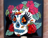 Day of the Dead Tile Candle Holder Rose Lady