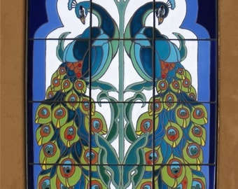 Hand Glazed Tile Mural Arabesque Peacock