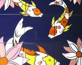 hand Glazed Tile Koi Fish