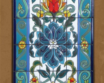 Arabesque Lotus Blossom  Hand Glazed Tile Mural