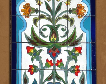 Arabesque Indian Flowers Hand Glazed Tile Mural