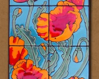 Hand Glazed Tile Poppies Mural