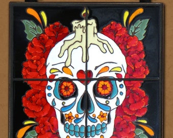 Day of the Dead Tile Mural Rose Man
