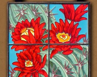 Hand Glazed Tile Mural Hedgehog Cactus