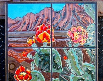 12x12 Prickly Pear Blooms Hand Glazed Decorative Tile Mural