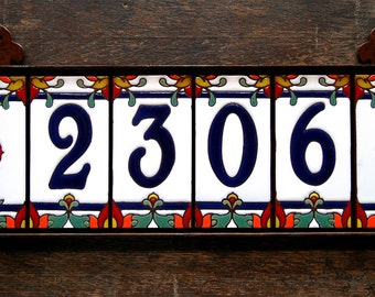 Custom Hand Glazed Royal Blue on White Talavera Ceramic Tile House Numbers