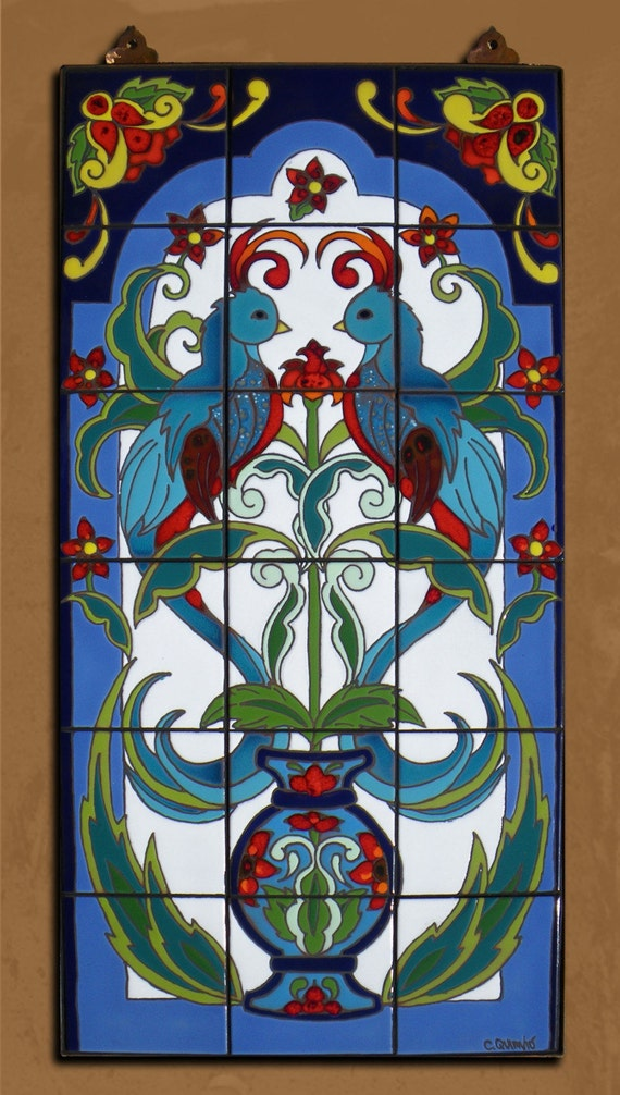Hand Glazed Tile Arabesque Quetzal Mural