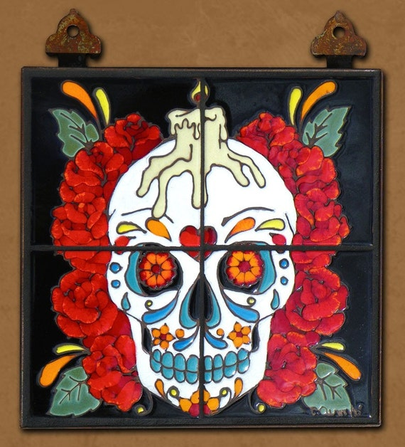 Items similar to day of the dead tile mural rose man on etsy for Day of the dead mural