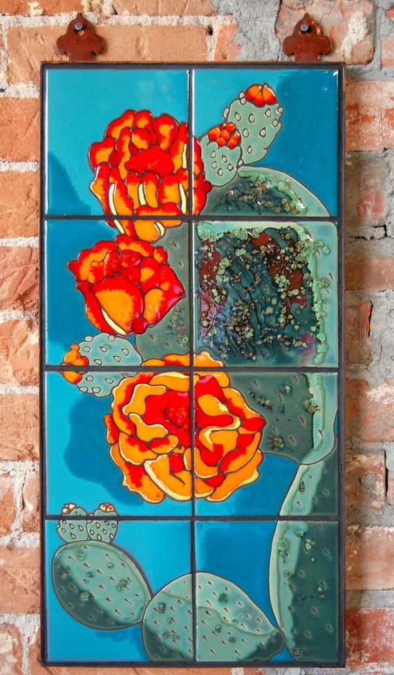 Hand Glazed Tile Mural Prickly Pear Cactus