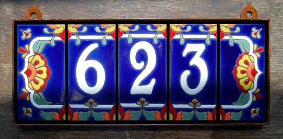 Custom Hand Glazed White on Royal Blue Talavera Tile House Numbers