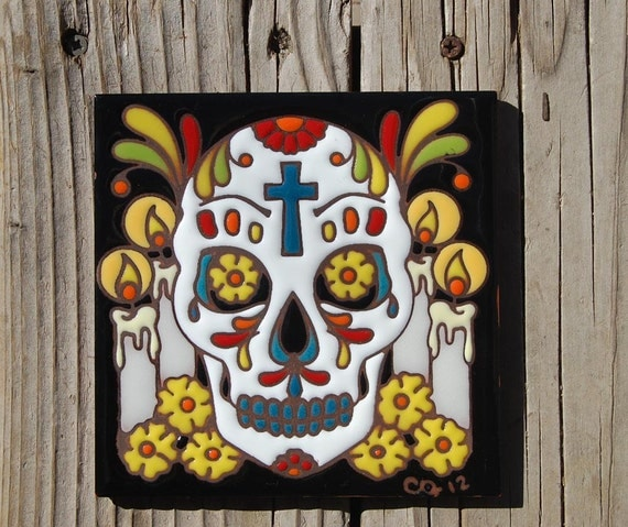 "Day of the Dead Altar with Cross 6""x6"" Hand Glazed Tile Trivet"