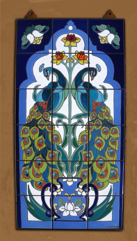 Hand Glazed Tile Mural Arabesque Peacock