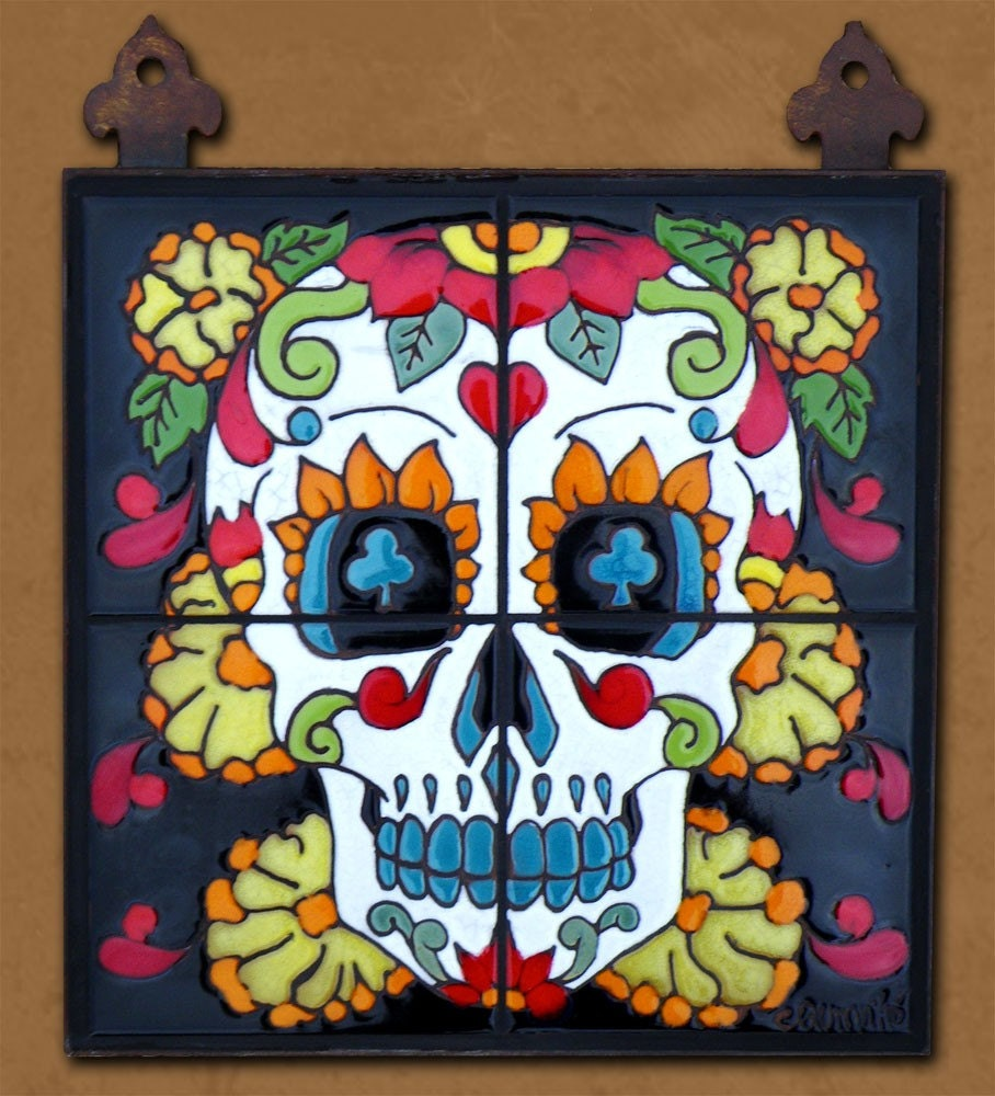 Day of the dead tile mural marigold man for Day of the dead mural