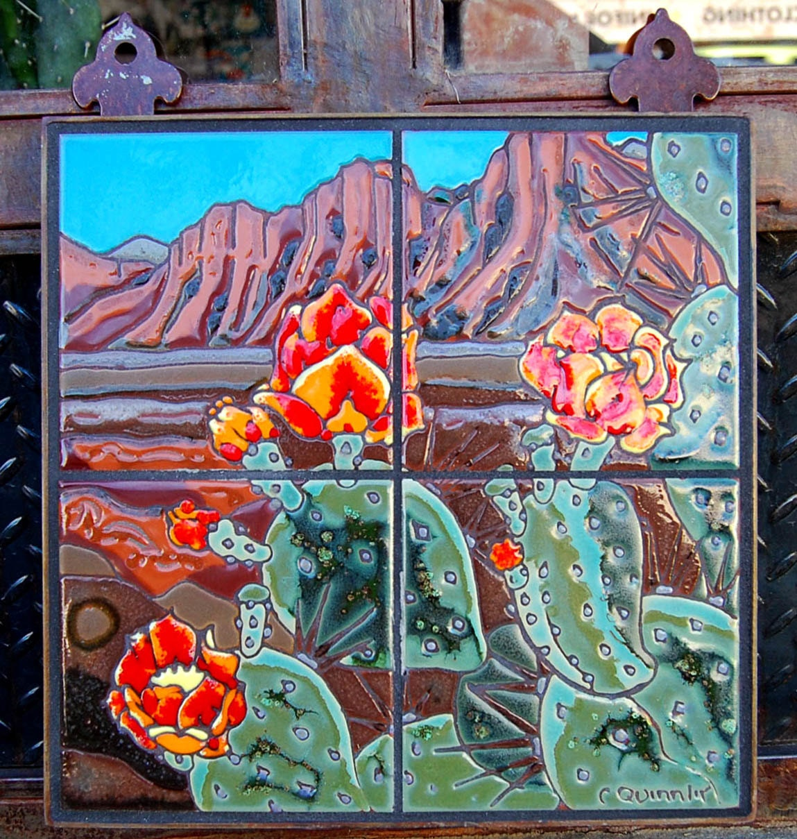 12x12 prickly pear blooms hand glazed decorative tile mural for Decorative tile mural