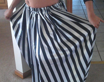 5 yard 1 inch Black and White or Red and White Stripe Satin Pantaloons