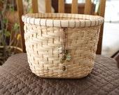 Hand Woven Basket - Medium Reed V-Twill Gift or Storage Basket