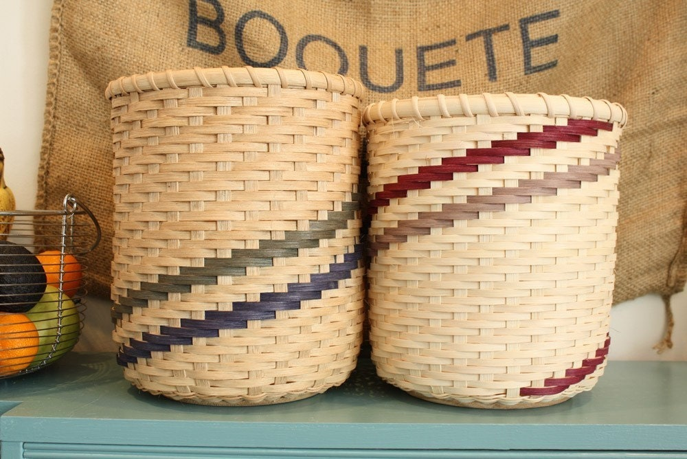 How To Weave A Basket Out Of Reeds : Hand woven basket medium reed scrap waste by