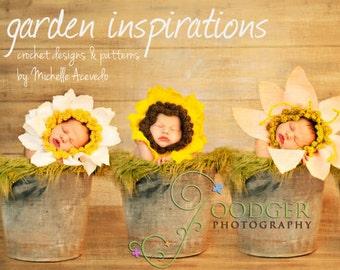 Baby Flower Hat Crochet Pattern PDF  make 9 styles . daisy, sunflower, dahlia, daffodil, gerber daisy , poppy, lily, clover and shamrock