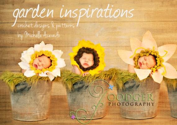 PDF Crochet Pattern E-book for Baby Flower  Hat / Bonnet to diy 7 flower hats . Great photo prop