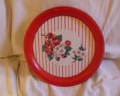 Retro Red Vintage Tin Cherries Cherry Blossom Platter
