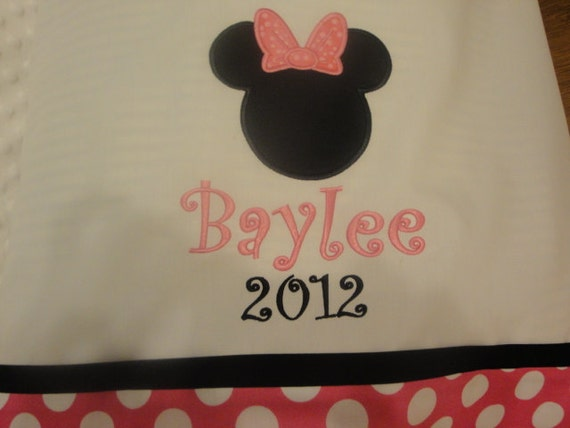 Monogrammed Personalized Minnie Mouse Disney Vacation Autograph Pink Polka Dot Standard/Queen Size Pillowcase Personalized FREE