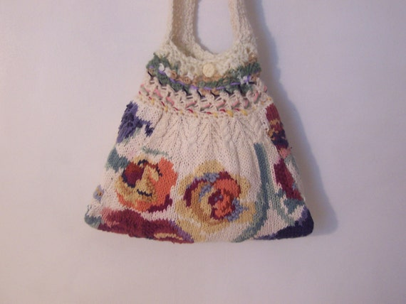 Purse Floral Knit Crochet Sling Shoulder Cross Body Bag Repurposed Sweater Eco Friendly Tote Fashionable Stylish Unique Accessory Teen Gift