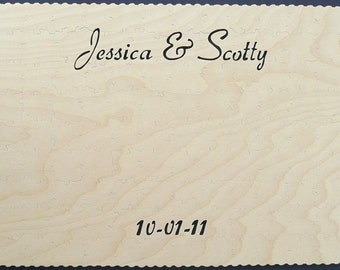 Wood Wedding Guest Book Registry Puzzle - 11x17 45 Piece Puzzle (45-65 guests)